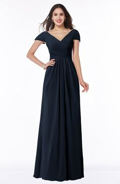 def2491aae ColsBM Evie Navy Blue Glamorous A-line Short Sleeve Floor Length Ruching  Plus Size Bridesmaid