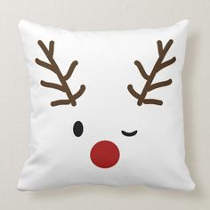Winking Rudolf Reindeer Christmas Reversible Throw Pillow - pillows home decor diy cyo pillow design Blue Christmas Decor, Christmas Room, Plaid Christmas, Reindeer Christmas, Christmas Decorations, Christmas Crafts, Christmas Sewing Projects, Christmas Cooking, Diy Pillows