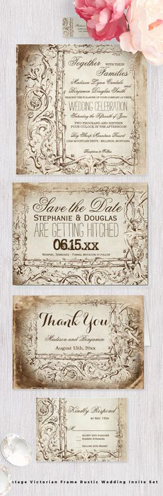 Vintage Victorian Frame Rustic Wedding Invitation Set with an old antique look.  The invitation prices are 40% OFF when you…