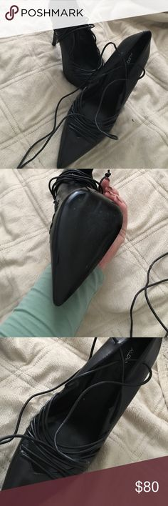 Lace up Aldo heels Brand new! I bought them for New Years and never ended up wearing them out. They're a little narrow just so you know so if you have wide feet these aren't for you! They lace up your leg. Obo. Aldo Shoes Heels