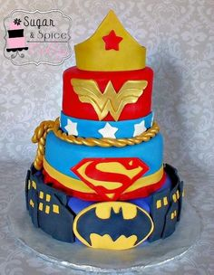 Super Hero Cake (WonderWoman,Supergirl,Batgirl)