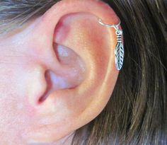 """Ear Cartilage Helix Cuff """"One Feather"""" 1 Cuff Color Choices No Piercing"""