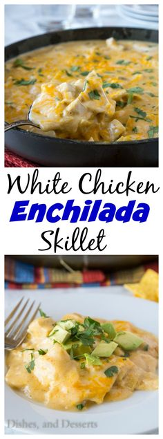 This white chicken enchilada skillet turns the traditional dish into a one-pan, . This white chicken enchilada skillet turns the traditional dish into a one-pan, stove-top meal! And even better, it's ready in 20 minutes. Chicken Enchilada Skillet, White Chicken Enchiladas, Chicken Chili, Keto Chicken, Skillet Enchiladas, Skillet Chicken, Orange Chicken, Chicken Casserole, Rotisserie Chicken
