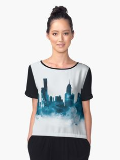 Melbourne Skyline  #melbourne #australia #city #skyline #cityscape #landscape #women #chiffon #top #clothing #style #art #prints #gift #ideas #shopping