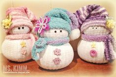 These jolly little snowmen are made with socks and embellished with hats, scarves and adorable little faces. Each one is unique and so precious. These make wonderful gifts for friends and family that they will adore as well.