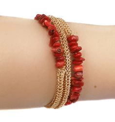 Memory wire bracelet gold red coral bracelet chip beads