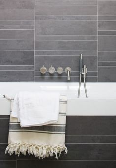get inspired.... bycocoon.com : Vola 811C-071-40 wall mounted bath mixer set in matte brushed stainless steel# modern bathroom with with stainless steel taps available via inoxtaps.com # moderne badkamer met wandmixer in mat rvs van Vola, oa. te koop op inoxtaps.com # bathroom design bycocoon.com