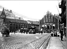 Hordaland fylke Bergen Torget og Finnegårdsgaten med Bergens Kjødbazar Foto George Kjellerød 1910/20-tallet