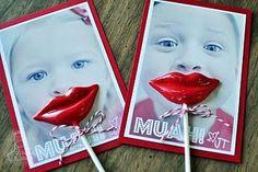 "Chocolate sucker lips on photo that says: ""Muah!"""