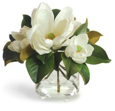 Magnolia In Footed Glass White Flower Arrangement