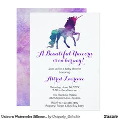 Fantasy themed girl baby shower invitation with a silhouette of a unicorn in a bold and deep purple, blue and pink watercolor wash.  Click to buy now!