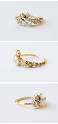 MOCIUN custom ring. 1 caret older miner diamond clustered with champagne and white diamonds set in 14k yellow gold