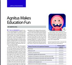 Agnitus is designed with 16 curriculum based educational games for ages 2 to 7 years old. It boasts 13 academic skills based on the common  core state standards. Pinned by SOS Inc. Resources http://pinterest.com/sostherapy.