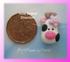 SALE Cute Little Cow with Heart Polymer Clay by rainbowdayhappy, $1.50