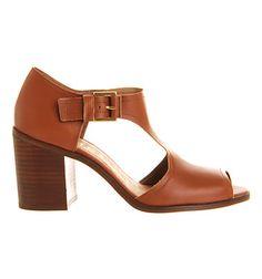 Office Dolly Block Heel Sandal Tan Leather - Mid Heels