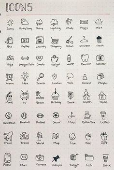 Icon doodles for pretty bullet journal pages. Ideas for bullet journal icons. Bring your bullet journal or diary to life. Bullet Journal Headers, Bullet Journal Banner, Bullet Journal 2019, Bullet Journal Notebook, Bullet Journal Inspo, Bullet Journal Spread, Bullet Journal Layout, Bullet Journal Ideas How To Start A, Bullet Journal Labels