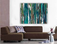 ORIGINAL LARGE teal art 36x48 Contemporary Modern Colorful Painting Tree blue wall canvas abstract Landscape office bedroom dining room on Etsy, $3,800.00