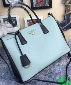Prada Saffiano Calfskin Leather Tote Bag BN2274 SkyBlue 0835b8c384d3e