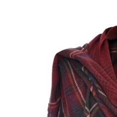 Cashmere Mix Tartan Wrap in Claret/Blue   Really Wild Clothing