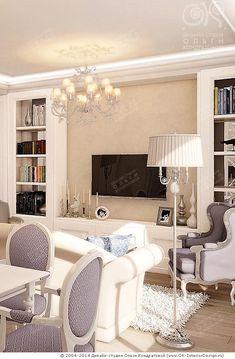 ТВ-зона в гостиной  http://www.ok-interiordesign.ru/blog/interyer-lavandovoy-gostinoy-stolovoy.html