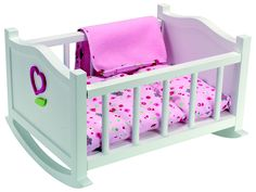 "Corolle Mon Premier Small Doll Cradle for 12 inch Baby Dolls - Bunnies Print - Corolle - Toys ""R"" Us Toys R Us, Kids Toys, Fisher Price, Doll Bunk Beds, Bb Reborn, Baby Doll Nursery, Little Doll, Bed Plans, Baby Kind"