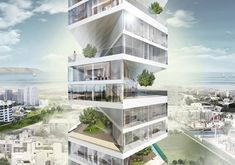 """Peru's Writhing Tower Twists and Turns Into the Skyline - """"Each unit is a two-story townhouse featuring a garden terrace with trees, and a pool with a deck. Due to the unique geometric play in the overall tower form, each terrace is able to receive warm tropical sunshine, complimented perfectly with a cool summer breeze."""" I want to live here!"""