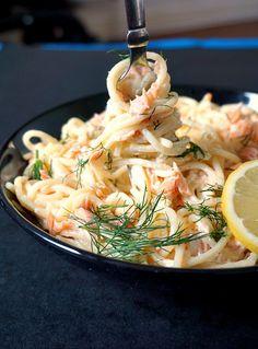 Salmon alfredo pasta with dill