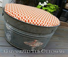 Eleanor Olander: This is me.: Galvanized Tub Turned Outdoor Ottoman - can still put drinks in it! Outdoor Life, Outdoor Living, Outdoor Spaces, Outdoor Seating, Outdoor Tub, Outdoor Gardens, Outdoor Footstool, Galvanized Buckets, Tin Buckets