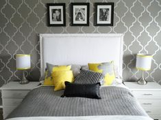 colors for our master bedroom-gray, black, white, yellow. we have the lamps in black & white. add gray west elm bedding, gray walls, keep by annabelle