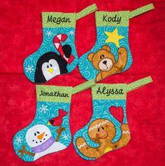 5X7 hoop CHRISTMAS STOCKINGS 4 designs penguin, bear, gingerbread, snowman fun for all  Applique