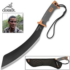 Auction starting at only .99 Cents! Great Value! Gerber Bear Grylls COMPACT Parang Machete Knife SURVIVAL Tool w/Nylon Sheath