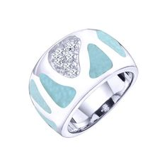 Sparkle like the Caribbean Sea! MarahLago, the first name in Larimar jewelry, matches elegance with style in this shining sterling silver and Larimar ring, featuring sparkling white topaz accents.