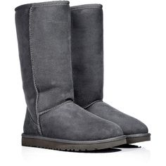 UGG Australia Leather Classic Tall Boots in Grey ($157) ❤ liked on Polyvore