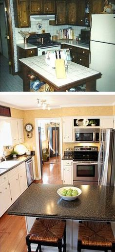 Before and after the veranda makeover you need to see to believe -.Before and after the porch makeover you need to see to believe - # after Painting Kitchen Cabinets Before Home Design, Interior Design Help, Kitchen Cabinets Before And After, Bathroom Before After, Painting Kitchen Cabinets White, Update Kitchen Cabinets, Diy Bathroom Remodel, Kitchen Remodel, Home Remedies