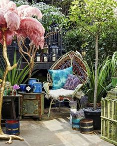 Matthew Williamson has collaborated with installation artist Rebecca Louise Law and Blakes London on a very special bohemian hideaway. Named The Hendrick?s Horticultural Oasis, it opens next week, coinciding with The RHS Chelsea Flower Show. Bohemian Patio, Bohemian Interior, Bohemian Decor, Bohemian Style, Boho Chic, Bohemian Garden Ideas, Bohemian Living, Bohemian Apartment, Bohemian Homes