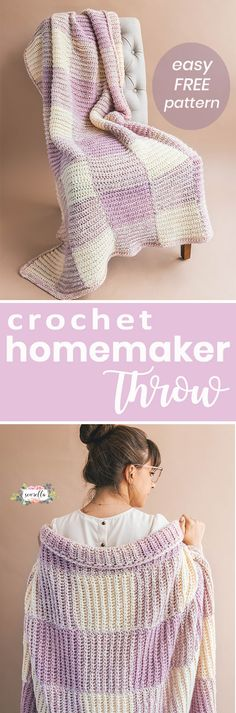 Crochet the easy homemaker gingham throw - a subtle blush afghan with knit looking rib stitches and simple assembly. A ver beginner friendly free pattern and video tutorial on my blog!