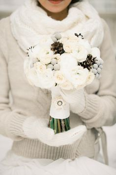 Style your own Gorgeous Winter Wedding Bouquet with a twist of Ruffled Fabric Ribbon Trim // Photo by Anastasiya Belik