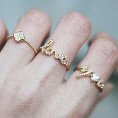 CZ Gold Nugget Ring - kellinsilver.com