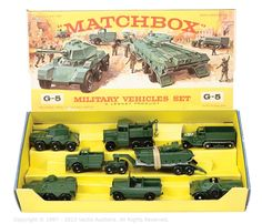 """Matchbox Regular Wheel Gift Set No.G5 """"Military Vehicles"""" - to include Major Pack No.M3 Thornycroft Mighty Antar Low-Loader with Centurion Tank - No.49A Half-Track - No.12B Land Rover - No.54A Saracen Personnel Carrier - No.61A Ferret Scout Car - No.64A Scammell Breakdown Truck - No.67A Saladin Armoured Car"""