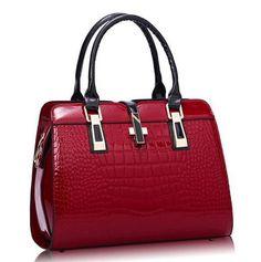 3bcb512b43 Charm in hands Elegant Alligator Patent Leather Women Handbag Big Women s  Shoulder Bags Cross Lock Design