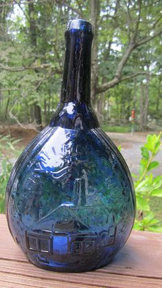Fislerville Glass Works Blue Bottle.