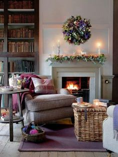 Books, a fireplace, yarn & a cozy chair. My idea of heaven.