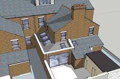 Mid-terrace House Extension Option 3 of 3 Victorian Terrace Interior, Victorian Homes, Loft Conversion Kitchen, Loft Conversions, Mid Terrace House, Wooden Terrace, Wooden Pergola, Diy Pergola, Pergola Kits