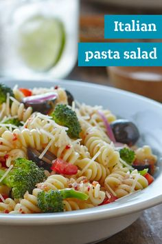 Italian Pasta Salad – Black olives, broccoli, and peppers combine with zingy dressing to create this Italian-style pasta salad recipe. Try out this easy dish for a spring picnic or delicious lunch idea. Get the ingredients you need delivered to your home with Instacart where available.