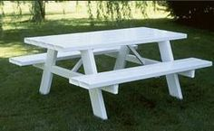 White Vinyl 6' Picnic Table from DutchCrafters Amish Furniture. Measuring 6' wide, our Vinyl Picnic Table is a great place to color, play board games, and eat as a family outdoors. Some assembly required. #picnictable #backyard #white