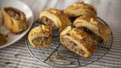 Try out a great combination of flavours to jazz up sausagemeat for these truly scrumptious sausage rolls. For the perfect result, invest the time in making your own pastry. (Make two batches – it takes the same amount of time, and you can freeze one for another recipe.)