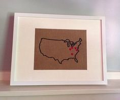 Custom Embroidered United States Map Outline With Hearts 12x16 Frame