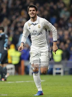 Alvaro Morata of Real Madrid celebrates after scoring his team's third goal during the La Liga match between Real Madrid and Real Sociedad at Estadio Santiago Bernabeu on January 29, 2017 in Madrid, Spain.