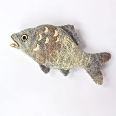Items similar to needle felted carp felted FISH needle felting and wet felting combined grey brown gold carp fish sculpture - uk on Etsy Wool Needle Felting, Needle Felted Animals, Wet Felting, Felt Animals, Wool Dolls, Felt Dolls, Felt Fish, Fish Ornaments, Felted Wool Crafts