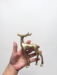 mid century solid brass deer figurine / antlers / by simplychi